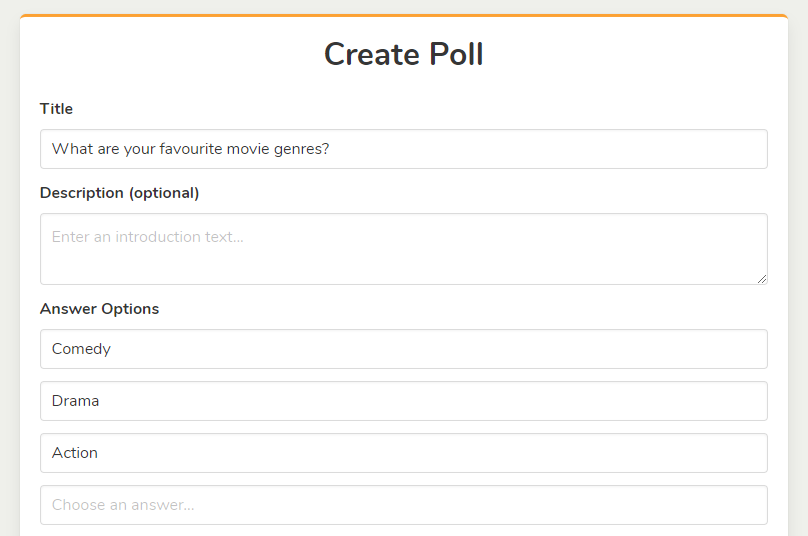 Create poll step 1