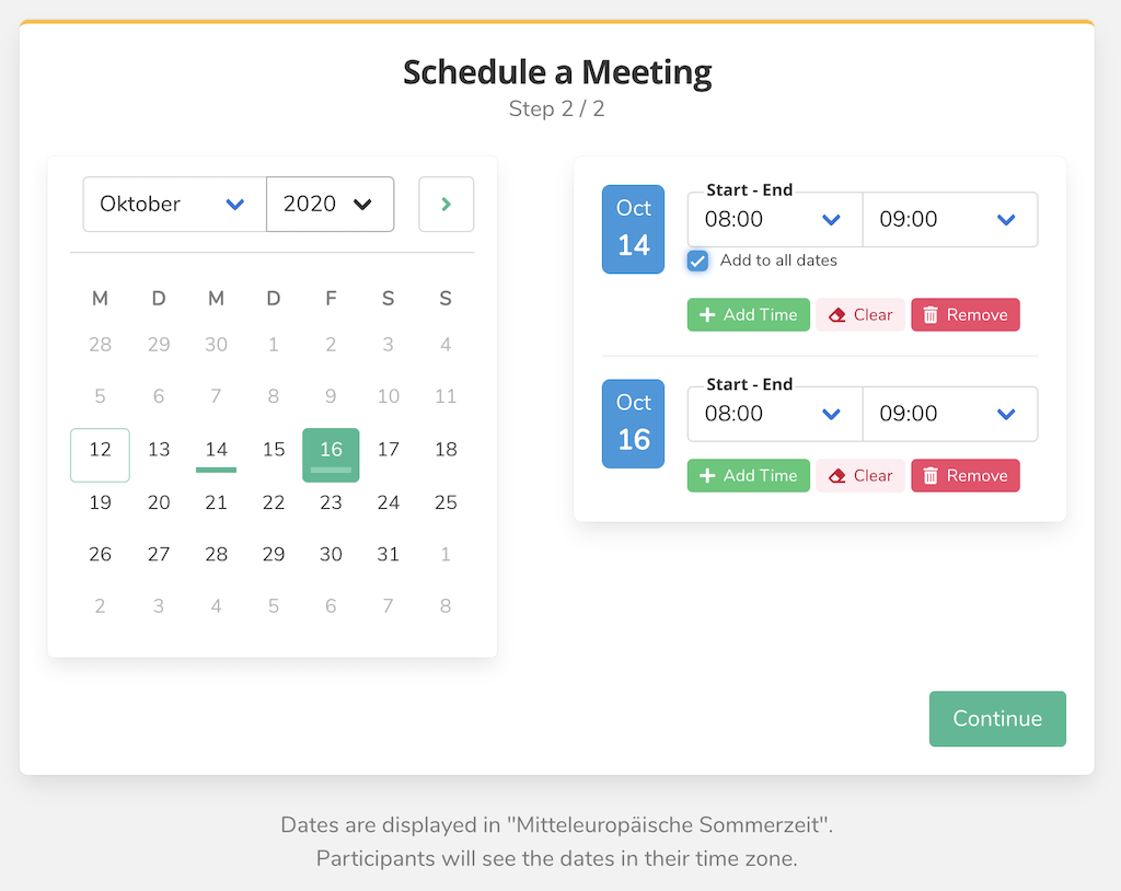 Schedule Meeting Step 2.3
